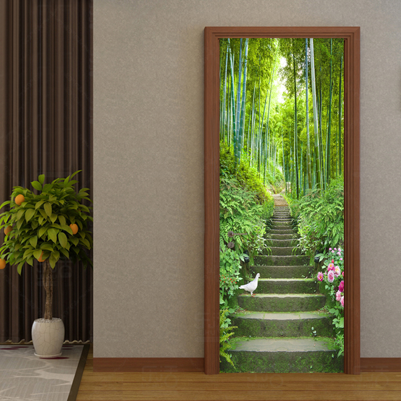 3D Wallpaper Green Bamboo Ladder Photo Wall Door Mural Living Room