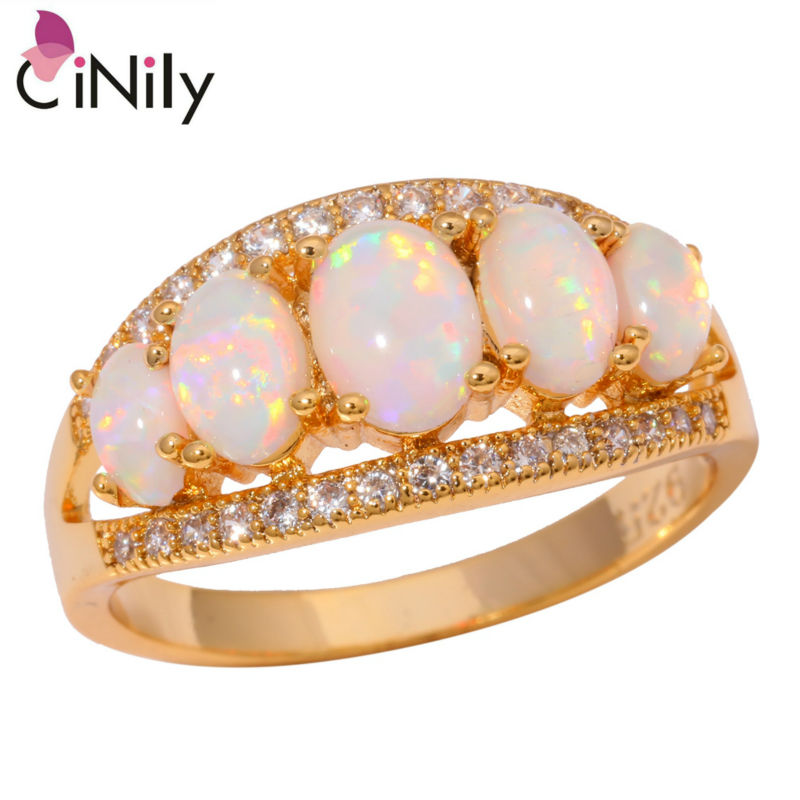 CiNily Created White Fire Opal Cubic Zirconia Yellow Gold Plated Ring Wholesale Retail for Women Jewelry