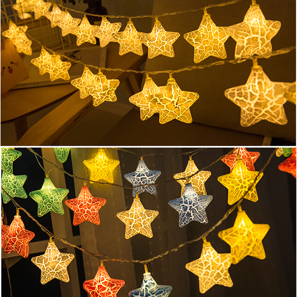 Holiday Lighting Curtain String Lights Star Battery Fairy Lights 3m Waterproof Wall Decorative Light Contemporary 20 Bulbs
