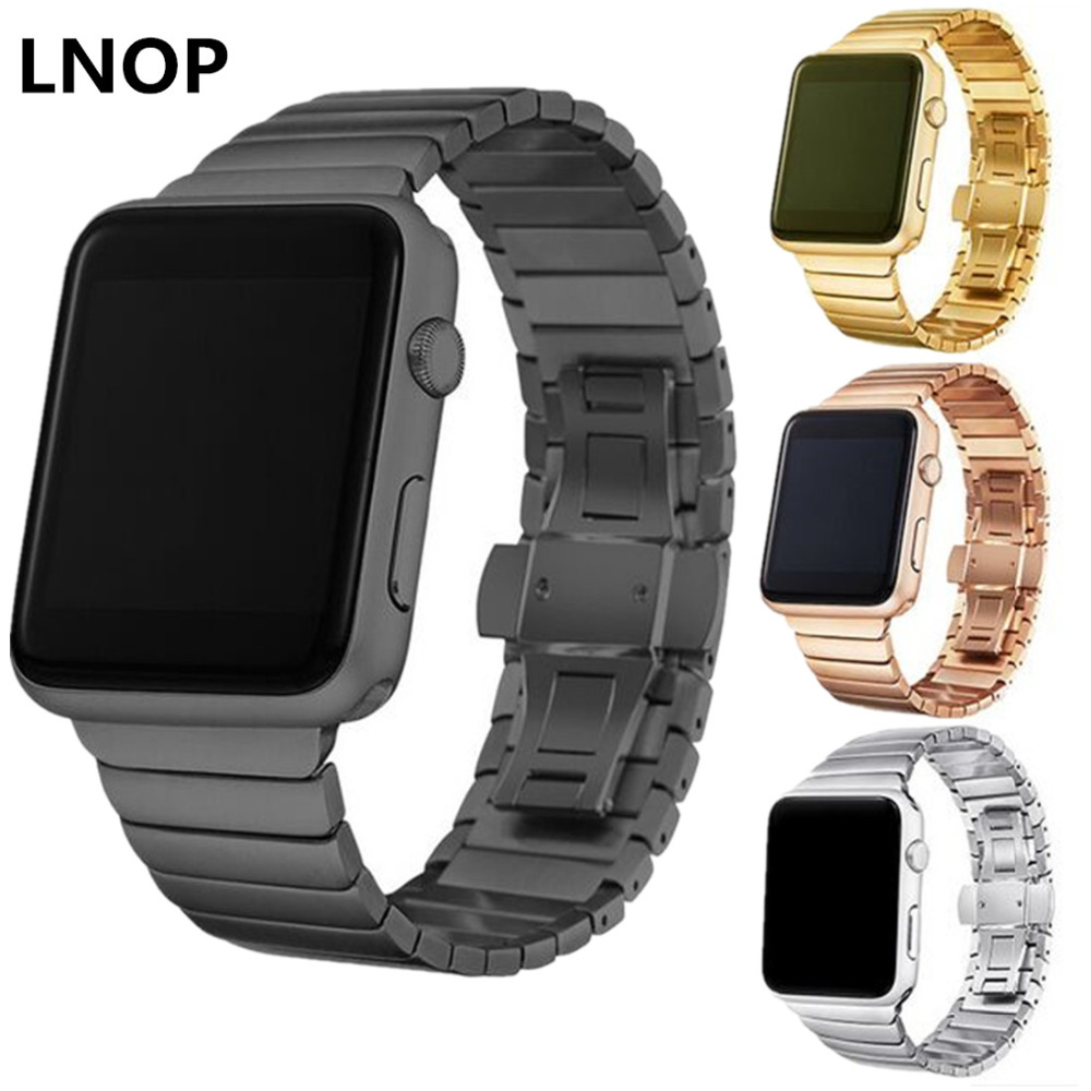 LNOP stainless steel straps For Apple watch band 42mm 38mm iwatch series 3 2 1 Link bracelet butterfly loop Luxury watchband