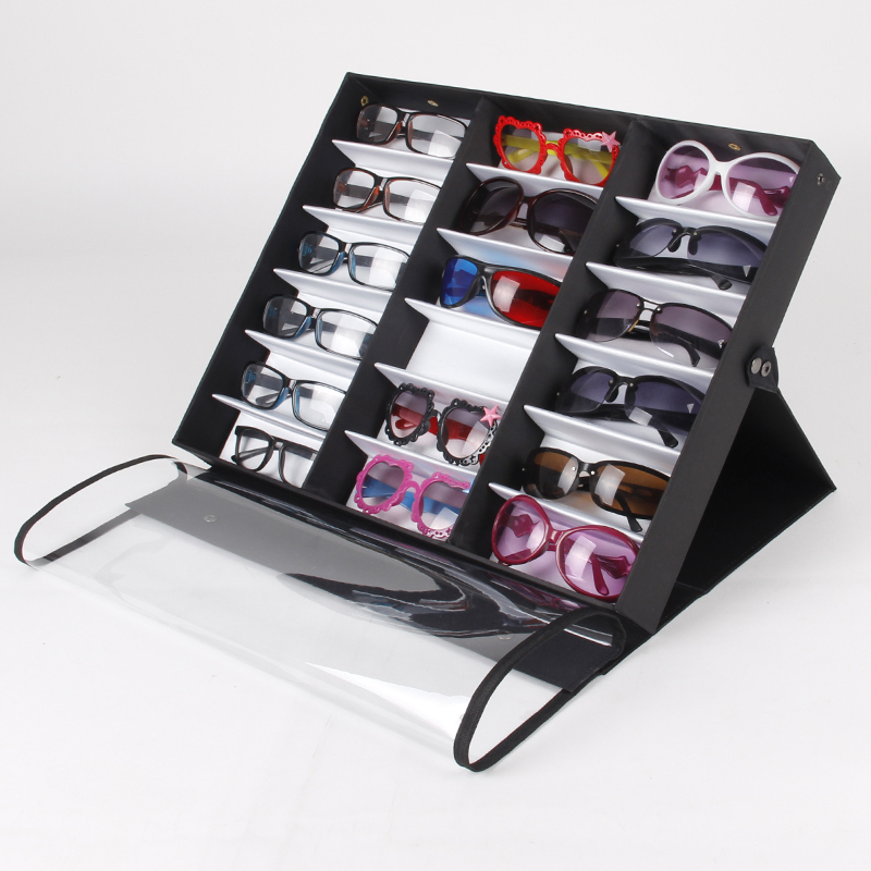 цена на Expedited Shipping 4Pcs Double Cover With 18 Gird Glasses Sunglass Display Case Box Tray Stand Holder High Quality