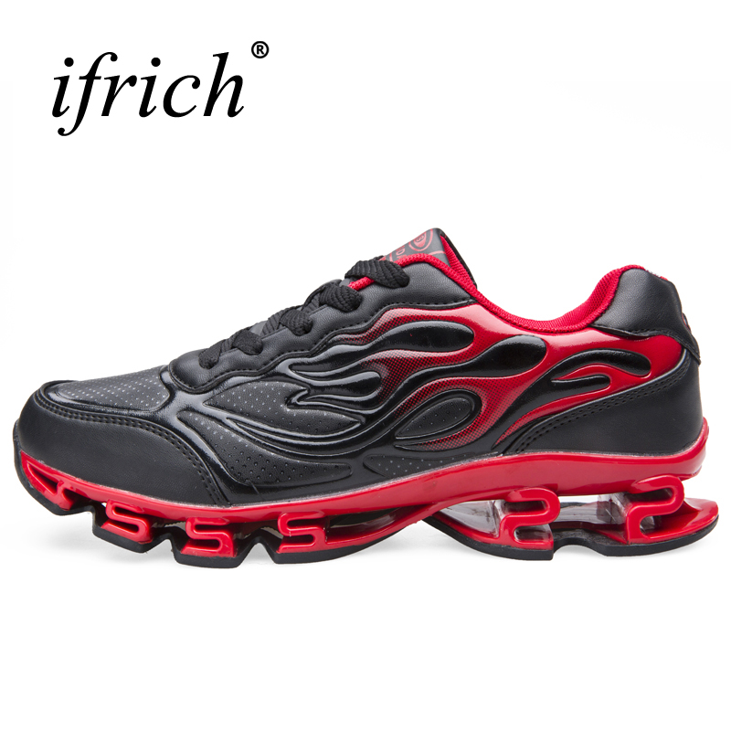 Man Sneakers Sports Shoes Leather Running Shoes Black/Red Jogging Sneakers Training Shoes Autumn/Winter Running Trainers glowing sneakers usb charging shoes lights up colorful led kids luminous sneakers glowing sneakers black led shoes for boys