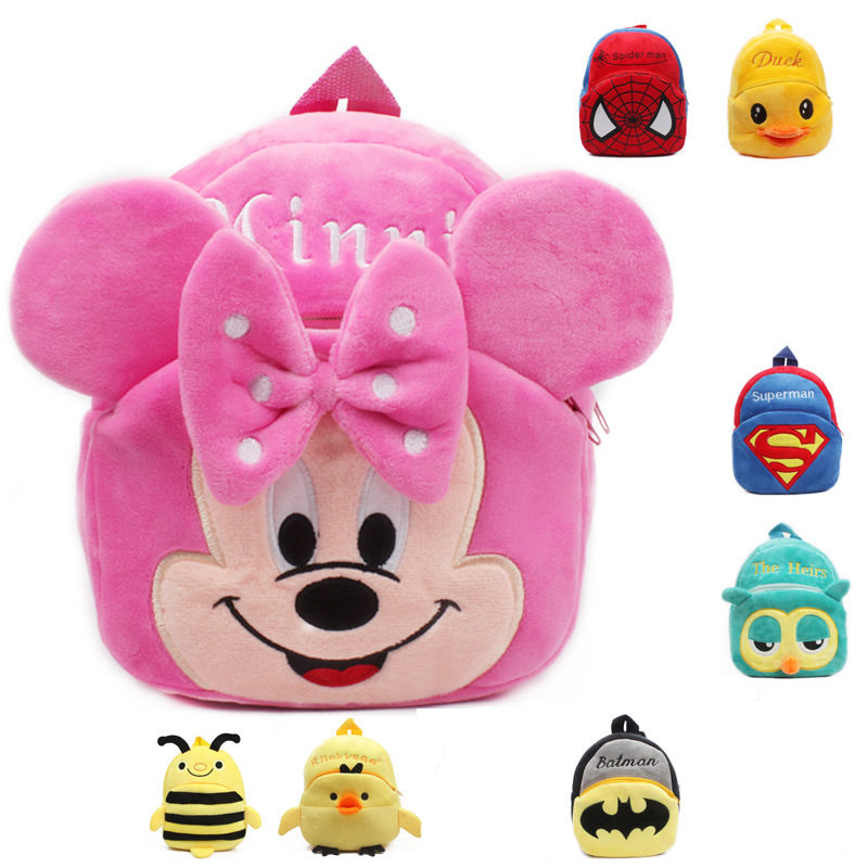 Kindergarten Kids Boys Girls Gift Plush Backpack Baby Girl Cute Cartoon Spiderman Mini Schoolbags  Children School Backpacks Bag