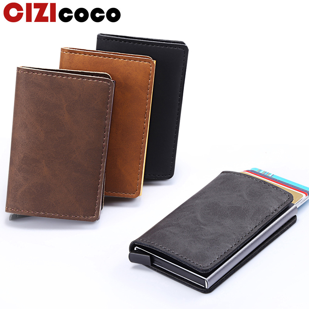 ed627bad1ce3 US $8.96 49% OFF|Cizicoco 2019 New Arrival Business Credit Card Holder  Metal RFID Aluminium Card Box Pu Leather Wallet Vintage Unisex Purse-in  Card & ...