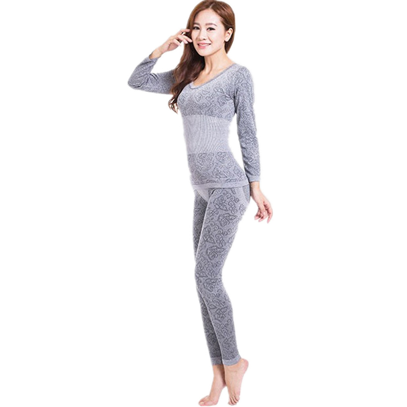 Spring Autumn Women's Lace Stretch Seamless Top & Bottom Thermal Underwear Set Long Johns Shapewear Shapers Female Pajamas Suit