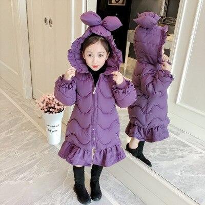 2-7 Y Leuke Baby Meisjes Winter Lange Jas Fashion Koreaanse Kinderen Meisje Mooie Hooded Parka Kinderen Boog Ruches Katoen Gevoerde Jassen Aantrekkelijke Ontwerpen;