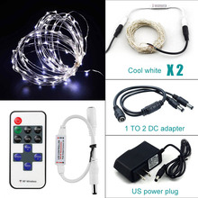 Multi-color LED string 2 pcs 10M 100 leds silver wire outdoor Christmas holiday wedding light With DC12V adapter controller
