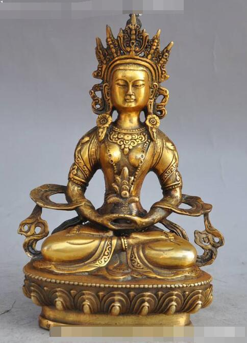 Fengshui Tibetan Buddhis White Tara Buddha Statue Golden Statue 8.5cm