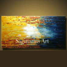 Hand Painted High Quality Modern Palette Knife Painting Sunset Metal Wall Art Abstract Oil Painting Canvas Wall Living Room Art