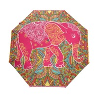 Tribal Floral Pattern Colorful Elephant Unique Personalized Custom Foldable Umbrella Women Rain Windproof Umbrella Automatic