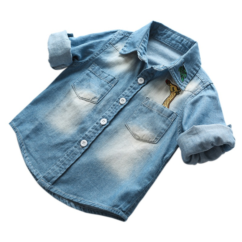 Children Kids Long Sleeve Denim Boy Girl   Blouses   Clothing Autumn Baby Jean   Shirts   Fashion