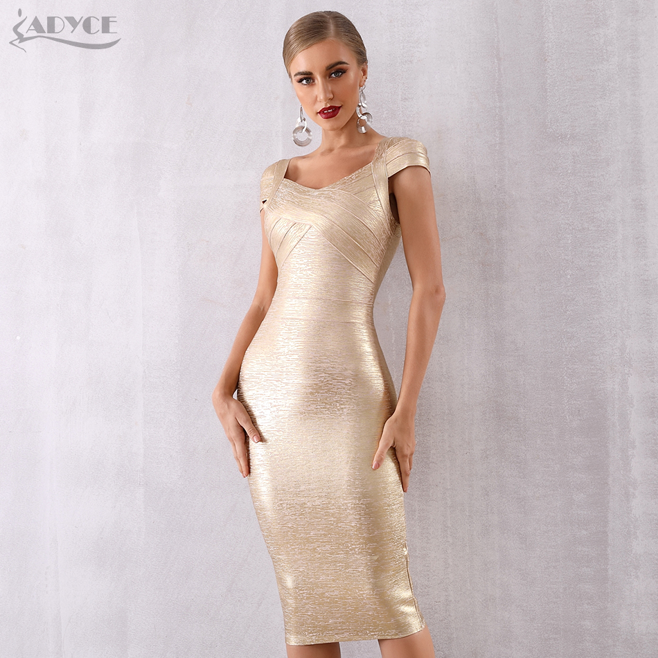 ADYCE 2019 New Summer Gold Bandage Dress Women Vestido Sexy Short Sleeve Bodycon Club Dress Midi Celebrity Evening Party Dresses