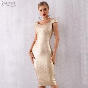 Image 3 - ADYCE Mùa Hè Mới Băng Váy Phụ Nữ Vestidos Verano 2020 Sexy V Neck Tắt Vai Người Nổi Tiếng Bên Váy Sexy Câu Lạc Bộ Bodycon ăn mặc