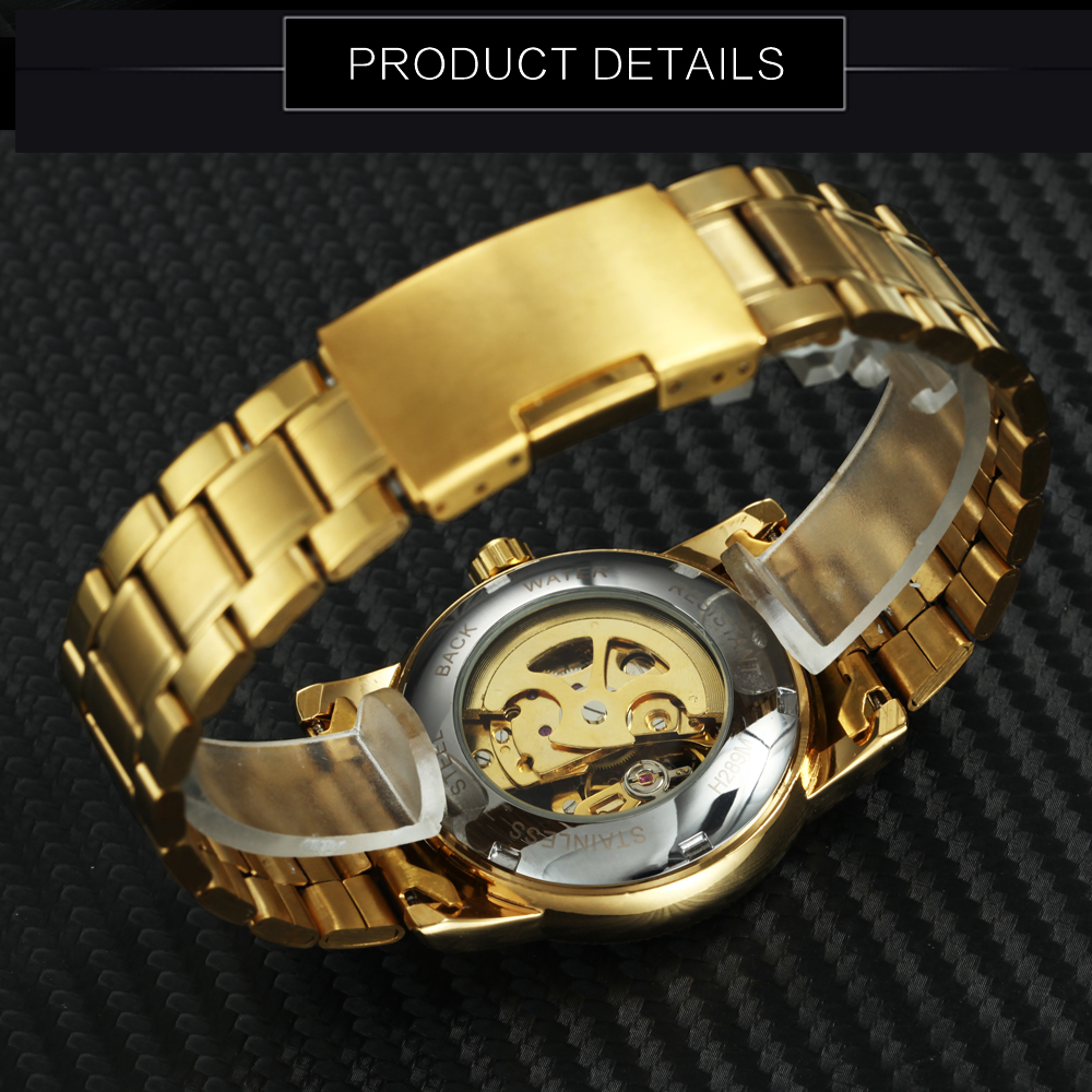 FORSINING Top Brand Luxury Dress Watch Men Auto Mechanical Skeleton Dial Golden Stainless Steel Strap Royal Classic Wristwatches 5