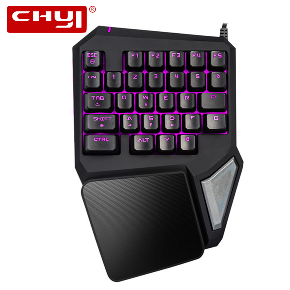 CHYI Wired Single Hand Keyboard Ergonomic 7 colors backlight adjustable One Hand Game Keypad with Palm Rest Delux T9 Pro For PC metal adjustable arm rest wrist support extended mousepad rotation ergonomic mouse pad shoulder protect for office game
