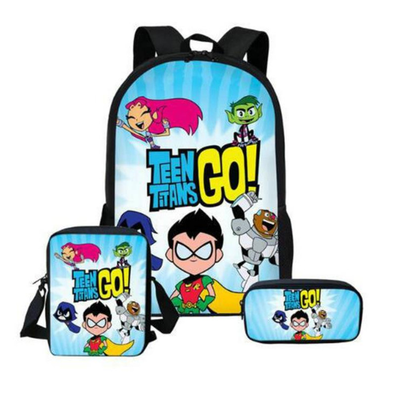 Hot Teen Titans Figures Printed Backpack Lunch Box Case Messenger Bag Lego Titanic Pencil Bag Case School For Kids Gift