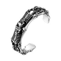 2018 New Fashion Hot Skeleton Open Cuff Bangle Stainless Steel Personality Accessories Men Women Girls Gift STB045