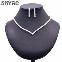 JINYAO Luxury African Wedding Jewelry Set For Bride White Gold Color Sparkling Zircon Necklace Earrings Bracelet
