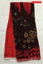 Фотография Coral red silk fabrics velvet with coffee floral pattern and big stones 5yards/pcs nigerian lace fabrics Dec-8-2017