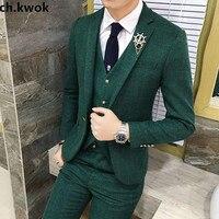 CH. КВОК зеленый цвета красный, серый в клетку мужской свадебное платье жениха Костюмы Куртки с Брюки для девочек Вязаные Жилеты для женщин п