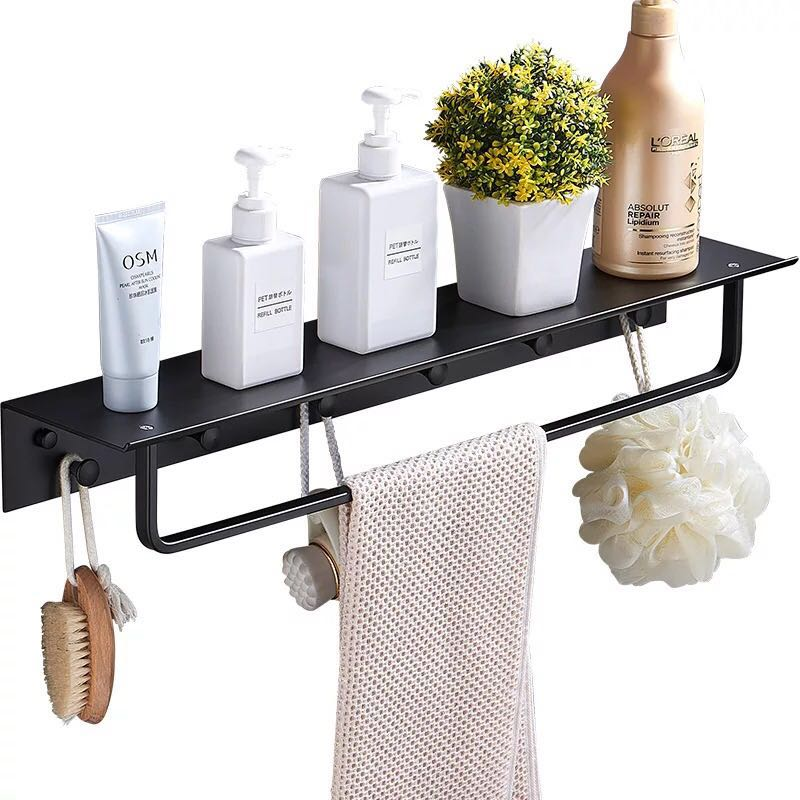 Nail Free Space Aluminum Bathroom Shelf Black Bathroom Shelves Rack with Hooks Wall Mounted Corner Multifunction Shelf F in Bathroom Shelves from Home Improvement