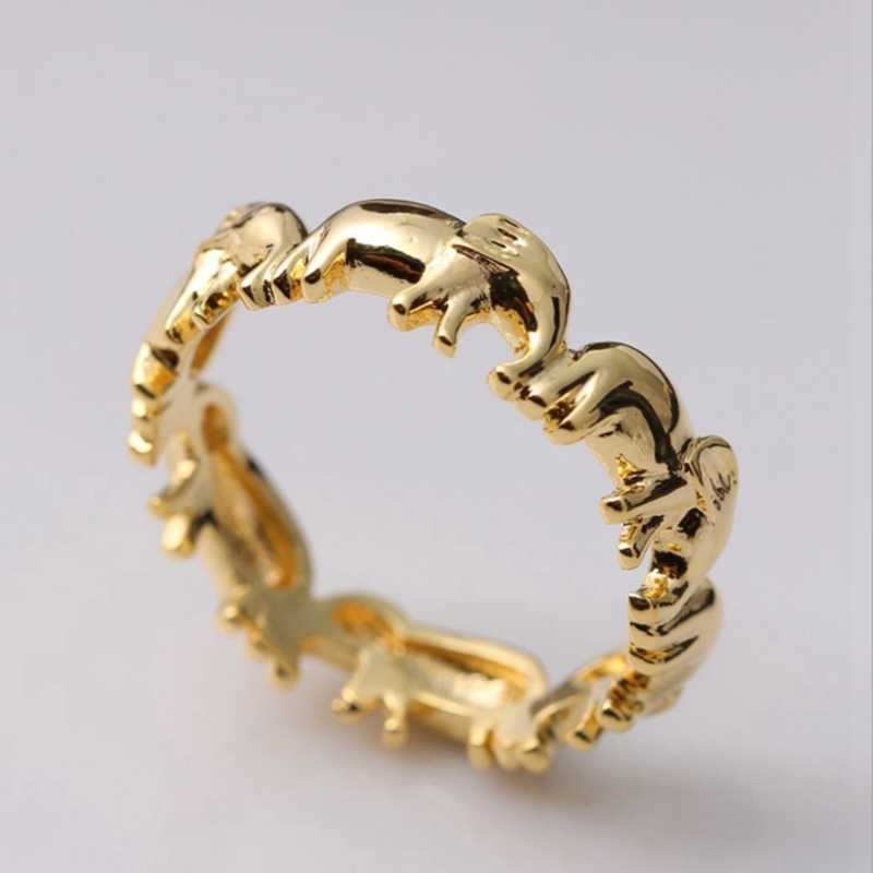 Gold/Silver Color Elephant Rings For Women Animal Rings Jewelry Lucky Christmas Gifts Silver Color Elephant Finger Rings