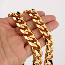 Granny Chic Hip Hop Miami Curb Cuban Chain Necklace 12/15mm 7-40 inches Golden Rapper Necklaces Or Bracelets Men Jewelry