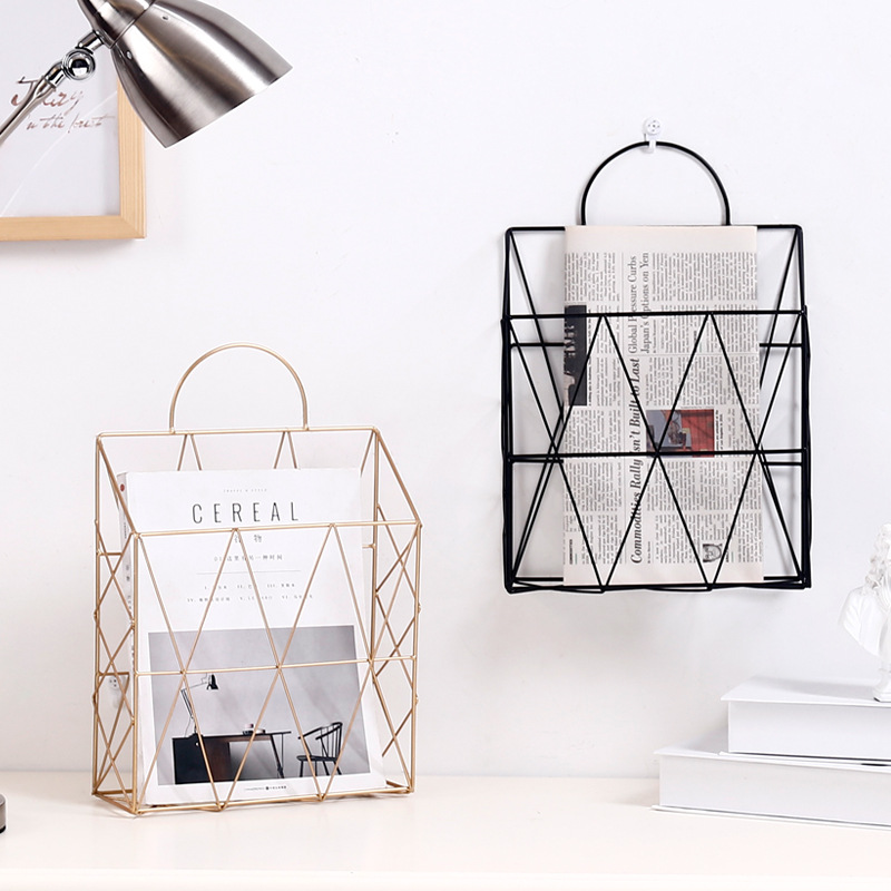 Nordic Rose Gold Portable Metal Hanging Storage Multi-functional Desktop Books Magazines Newspapers Organizer Office Home