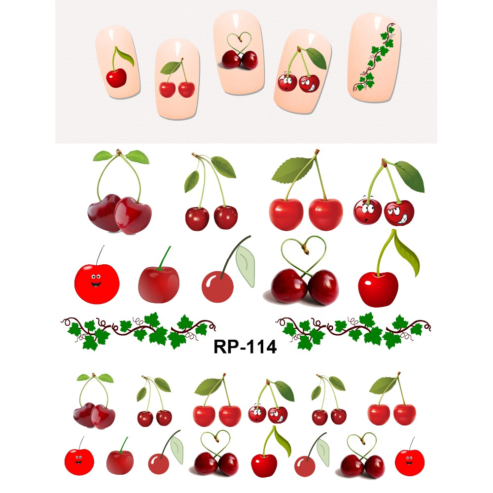Uprettego nails beautiful stickers for nails water Sticker slider fruits Cherry strawberries Grapes banana apple RP109-114