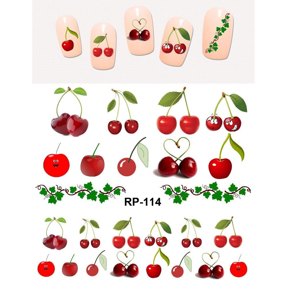 Uprettego negle smukke klistermærker til negle vand Klistermærke glider frugter Kirsebær jordbær Druer banan æble RP109-114