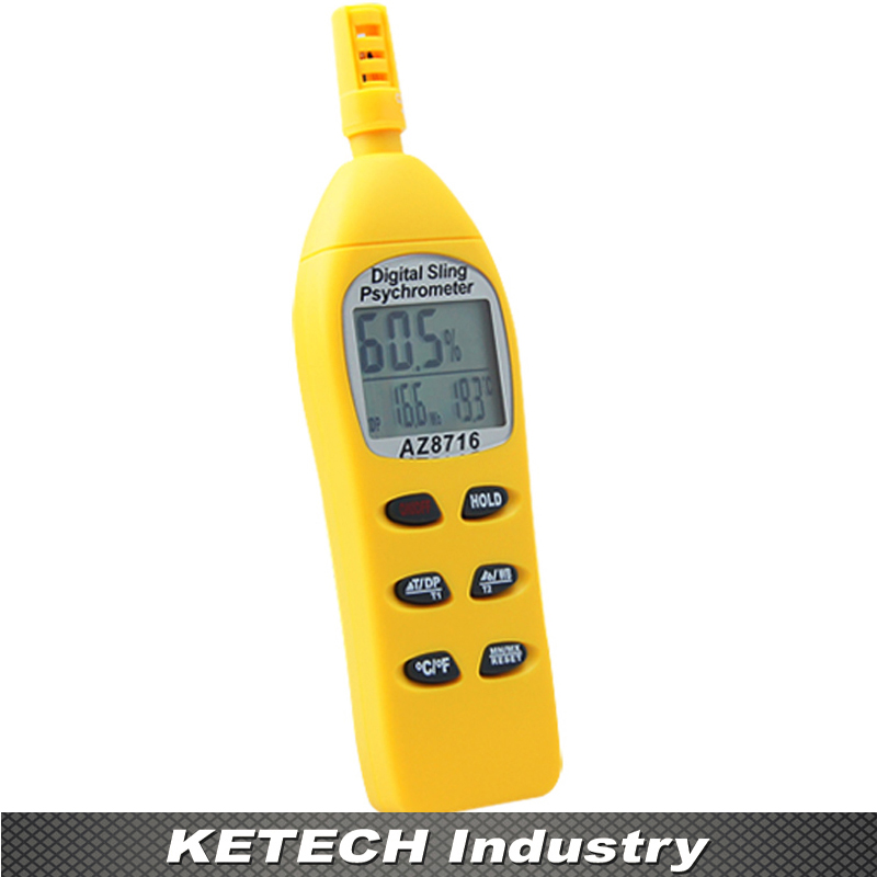 AZ-8716 Digital Temperature and Humidity Meter Handheld Precision Hygrometer with Dew Wet Bulb Temperature fast shipping az8723 temperature humidity dew point meter wet bulb temperature and humidity az 8723