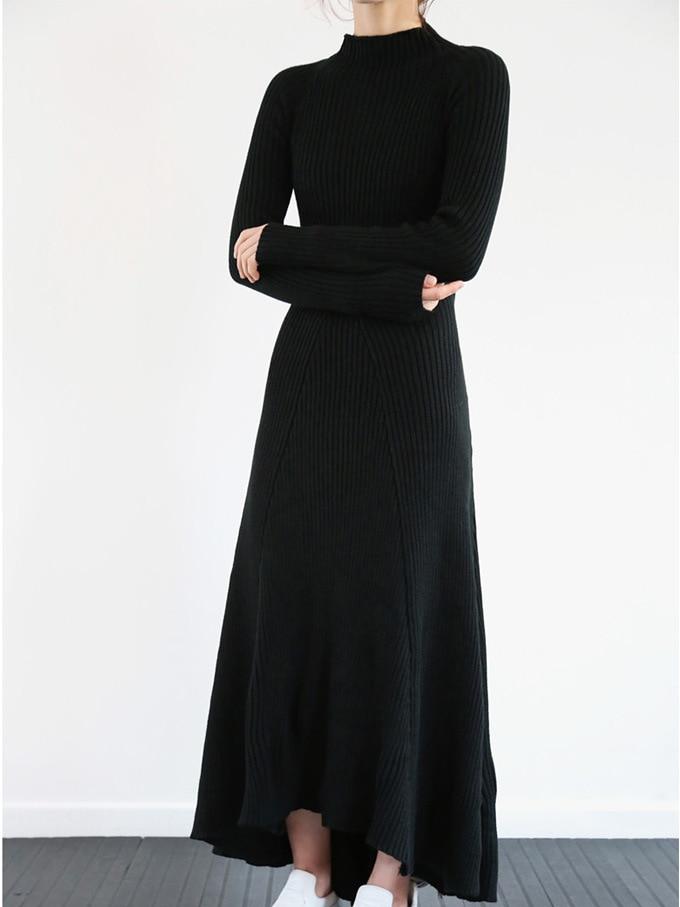 Long Laine Pull Robe Tricoté À Hiver Roulé De Dos Évider Nu Col Femmes Sexy AqBRzxw