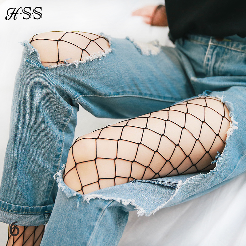 HSS Fashion Women Big Mesh Stockings Coveralls Even Pants Stockings Hollow Out Sexy Pantyhose Non-slip Backing Tights