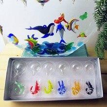 Custom Murano island style hand made aquarium floating glass fish decorations pendant realistic shrimp Figurines animal statues