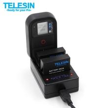 Multi-funcional de 3 Canales USB 3 Ranuras GoPro TELESIN Cargador Cargador de Batería WiFi Control Remoto para Gopro Hero 4 accesorios
