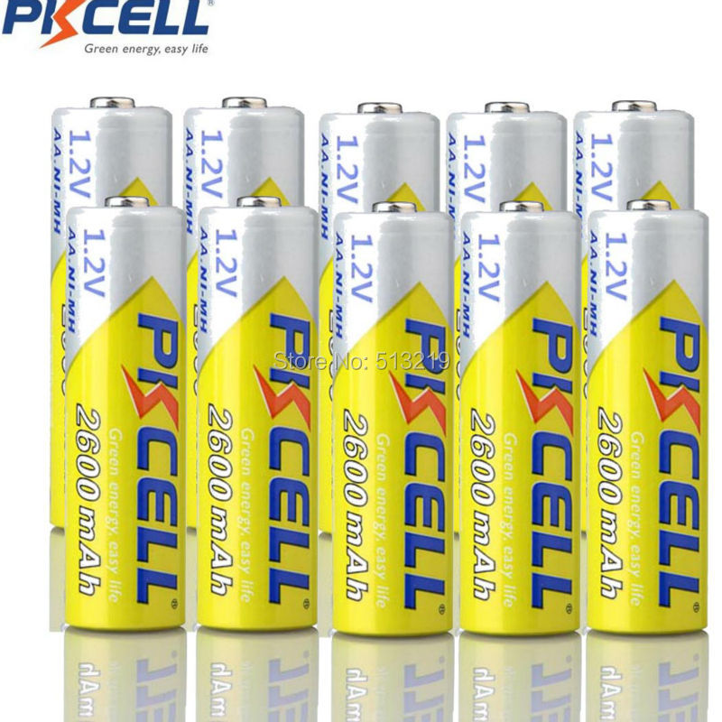 10pcs PKCELL AA 2600mah battery 1.2v NIMH rechargeable batteries AA Bateria Baterias for flashlight camera children toys