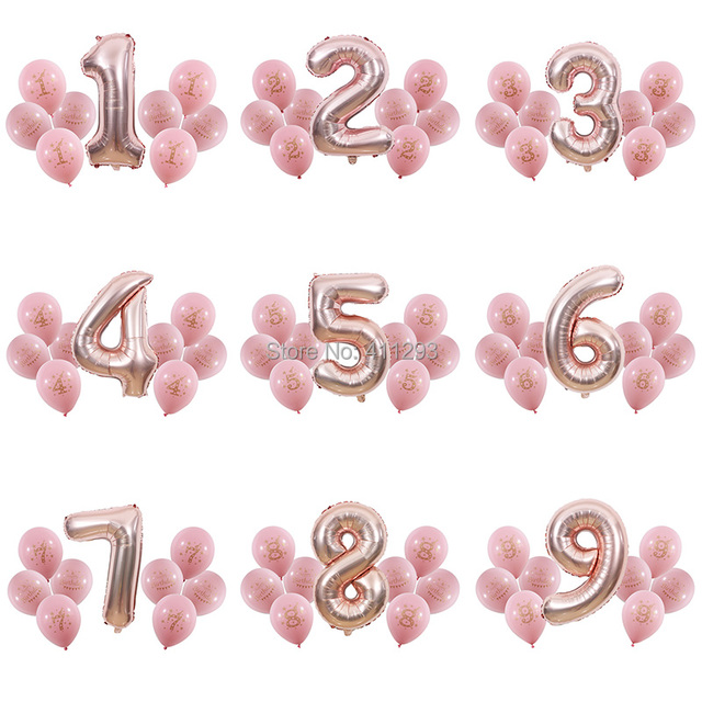 1 2 3 4 5 6 7 8 9 years old happy birthday balloon Kids 1st Birthday ballon Number Foil Balloon pink girl blue boy party globos