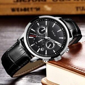 Image 4 - 2020新作メンズウォッチligeトップブランドの高級レザーカジュアルクォーツ腕時計メンズスポーツ防水時計黒腕時計レロジオmasculino