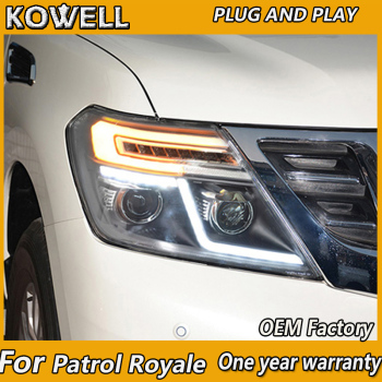 KOWELL Car Styling 2010-2016 Headlight For NISSAN Patrol Royale LED HeadLighT xenon lens LED car light
