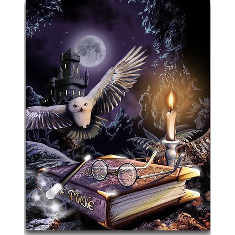 Harry Potter 5D Diamond painting Cross stitch Owl animal Diamond embroidery Magic book Full round Dimond mosaic moon castle  YY