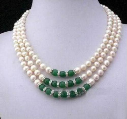 Triple strands AAA 8 9mm green jade+South Sea white Pearl Necklace 18 925silver Gold
