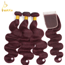 HairUGo font b Hair b font Pre colored 99J Color 3 Bundles With Closure Peruvian Body