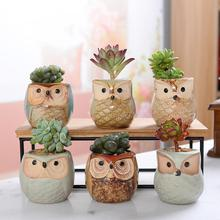 Get more info on the 6pcs Ceramic Owl Flower Pots Planters Flowing Glaze Base Serial Set Ceramic Planter Desk Flower Pot Cute Design Succulent Plante