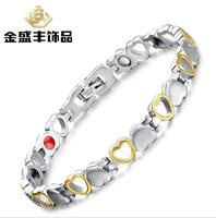 21 Cm Top Quality Health WoMen Bracelet Bangle 316L Stainless Steel Magnetic Care Jewelry Silvery Gold