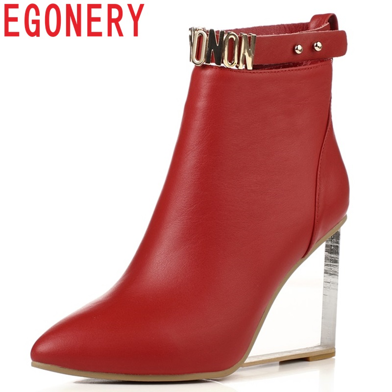 цены EGONERY women shoes crystal heel ankle boots side zipper sequined riding equestrian boots pointed toe metal buckles shoes