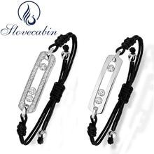 Slovecabin 925 Sterling Silver Black Rope Bracelet With Clear Crystal Move Stone For Women Adjustable Silver Vintage Bracelet
