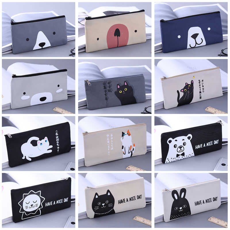 cat bear rabbit Canvas Pencil Case School Supplies Kawaii Stationery Estuches Chancery School Cute Pencil Box Pen Bags