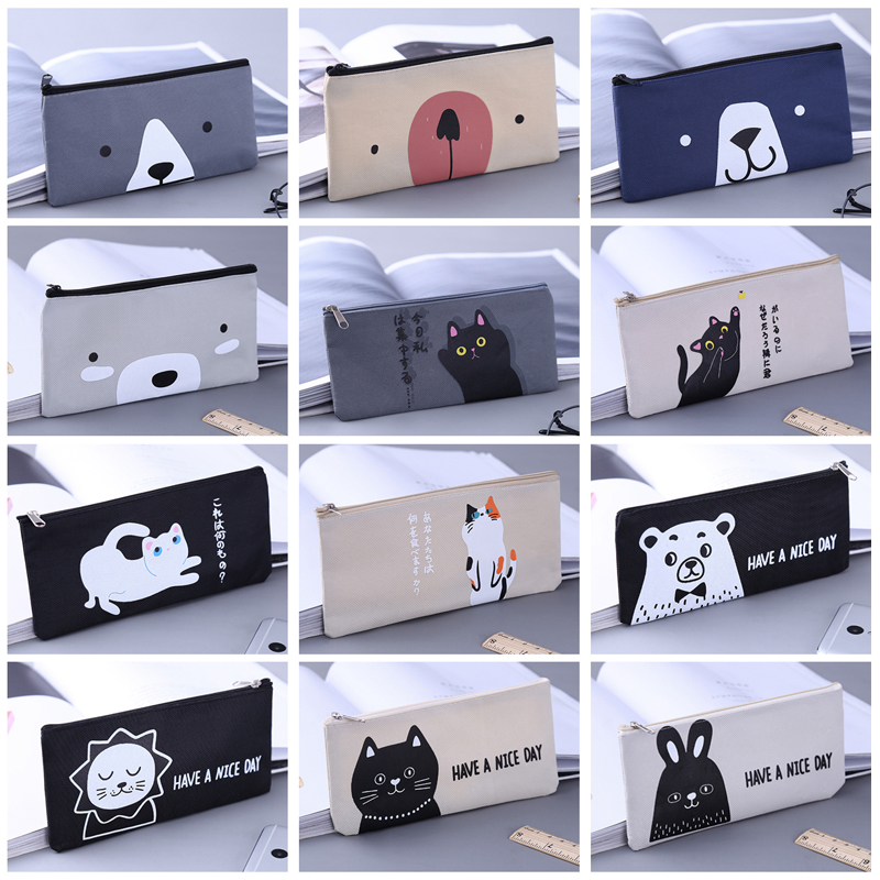 Cat Bear Rabbit Canvas Pencil Case School Supplies Kawaii Stationery Estuches Chancery School Cute Pencil Box Pen Bags