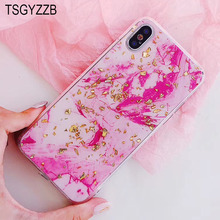 Glossy Marble Phone Case For iphone 7 8 Plus 10 6 6S Coque New Fashion Gold Foil Glitter Back Cover Fundas X Soft TPU
