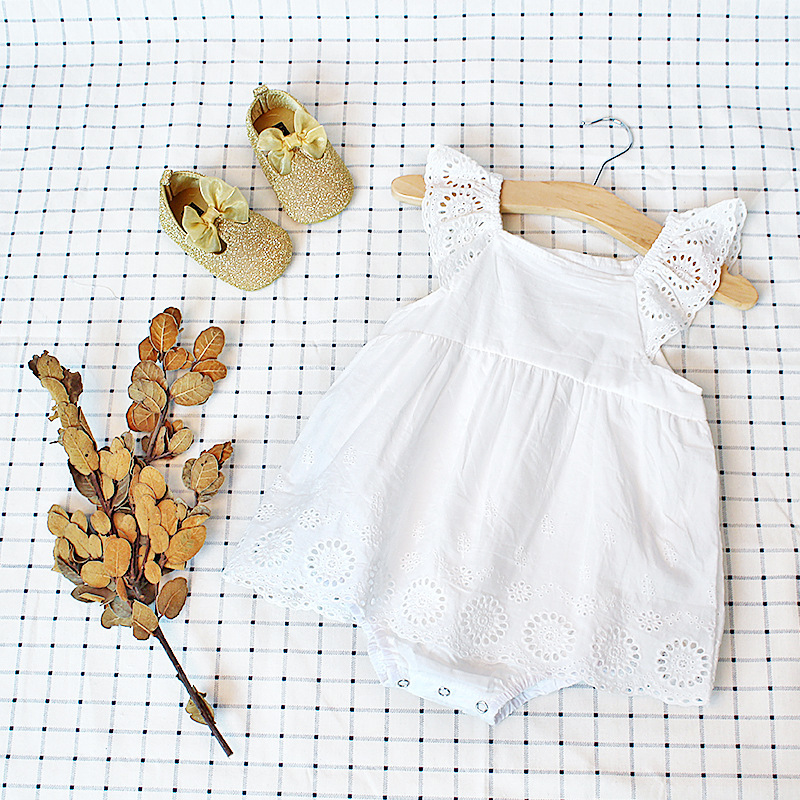 2018 New Summer Embroidered Lace Pure Cotton WhiteTriangle 1 Year Birthday Dress Romper Baby Onesie Girl Clothes Baby-clothes